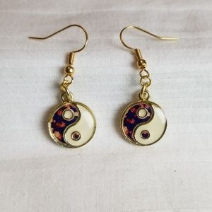 Yin Yang Gold Tone Circle Earrings